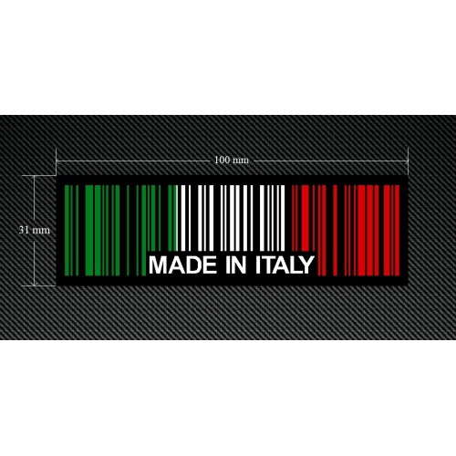 2 x MADE IN ITALY BAR CODE Stickers Decals with a Black Background